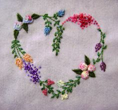 Getting to Know Brazilian Embroidery - Embroidery Patterns Embroidery Hearts, Embroidery Needles, Hand Embroidery Stitches, Silk Ribbon Embroidery, Crewel Embroidery, Cross Stitch Embroidery, Mexican Embroidery, Garden Embroidery, Embroidery Designs