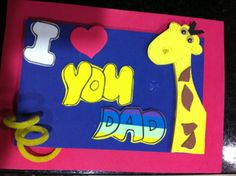 A note to dad made by Tomy, 5 years old • Art My Kid Made #iloveyou #kidart #giraffe