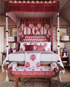 "491 Likes, 8 Comments - Debby Tenquist. (@botanicatrading) on Instagram: ""RED ROOM,The Woody House, The Hamptons. This exotic bedroom is by @petermarinoarchitect for…"""