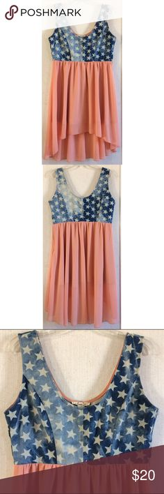 Very J Star Denim Chiffon Dress Good condition. Couple of loose threads on the denim. Small pen mark on the chiffon right under the denim. Super cute Very J dress. Distressed wash blue denim top with white stars. Peach color semi-sheer chiffon high low skirt. Skirt is lined to mini skirt length. Zipper up one side. Size large. All offers welcome Very J Dresses High Low