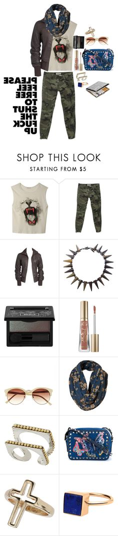"""."" by applecocaine ❤ liked on Polyvore featuring Elizabeth and James, EMU Australia, Eddie Borgo, Kat Von D, Too Faced Cosmetics, Vince Camuto, Topshop, Valentino, Miss Selfridge and Ginette NY"