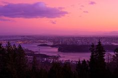 cypress mountain vancouver sunset - there are some great sunsets from Cypress Mountain of Vancouver if its not pouring rain. This is a rare clear winter day sunset from here. Clear Winter, Mountain Sunset, Winter Day, Vancouver, Canada, Urban, River, Architecture, City