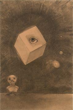 """1910-again: """"Odilon Redon, The Cube 1880 """""""
