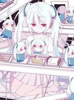 Kawaii, Hatsune Miku, Vocaloid, Chibi, Sad, white hair, cakes