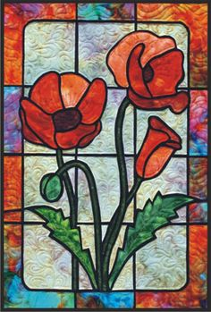 Poppies_The New Classics ~ Impressionist Stained Glass from Brenda Henning's Bear Paw Productions Stained Glass Patterns Free, Stained Glass Quilt, Stained Glass Flowers, Stained Glass Designs, Stained Glass Suncatchers, Faux Stained Glass, Stained Glass Panels, Stained Glass Projects, Tiffany Glass