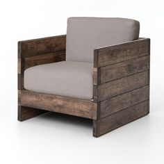 """Weathered, planked sides and a boxy shape offer statement-making style and casual comfort. Neutral linen seating, reclaimed oak, and acid-washed iron strapping along each arm. Dimensions:W: 30.5"""" H: 25.5"""" D: 33""""Colors:Bennett Moon, Distressed OakMaterials:100% Polyester, Oak"""