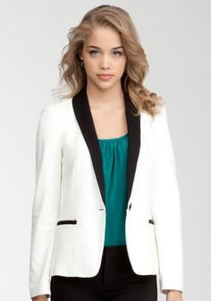 bebe Deri Contrast Shawl Collar Blazer « Store Break