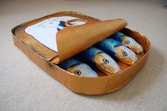 """""""Giant Sardine Tin"""" by Jess in the Art & Design section of BBC Blast Food Sculpture, Sculptures, Illustrated Words, Tin Art, Recycling, Ceramics Projects, Paper Clay, Old Toys, Yard Art"""