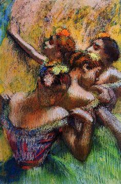 Four Dancers - Pastel - By Edgar Degas. So much color for Degas. Pierre Auguste Renoir, Edgar Degas, Monet, Degas Ballerina, Degas Dancers, Degas Paintings, Degas Drawings, Pastel Paintings, Paul Cézanne