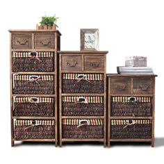 Wooden Frame Wicker Basket Drawer Storage Unit Bed Bathroom Organizer G140
