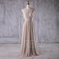 2017 Cream/Beige Chiffon Bridesmaid Dress, Cap Sleeves Wedding Dress, Long Pleated Dress, Scoop A Line Prom Dress Floor Length (J197) by RenzRags on Etsy https://www.etsy.com/uk/listing/505001265/2017-creambeige-chiffon-bridesmaid-dress