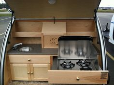 Teardrop camper- stove in a drawer.
