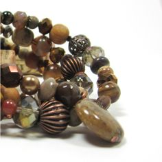 rich brown gemstone, Czech glass, copper brass beads, wrap bracelet... ($32) ❤ liked on Polyvore featuring jewelry, bracelets, brown jewelry, wrap bracelet, gem jewelry, copper bangles and gemstone jewelry