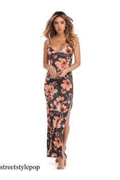Gray Date Night Floral Maxi Dress Summer Vacation Style, Vacation Fashion, Vacation Dresses, Vacation Wear, Travel Dress, Date Outfits, Floral Maxi Dress, Fashion Dresses, Two Piece Skirt Set