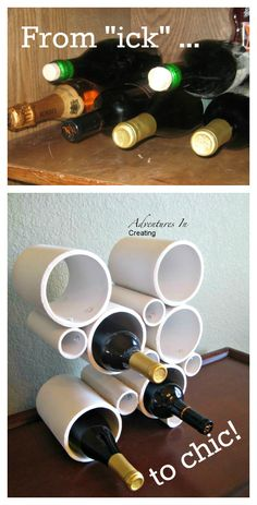 Upcycle: PVC pipe into a wine rack {DIY}
