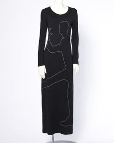 Moschino Crime Scene Body Novelty Embroidery 1990s 90s Vintage Wool Maxi Dress image 2