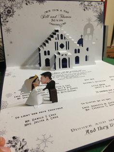 Pop up wedding invitations mixed with delightful accessories and delightful design 3