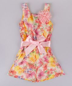 This Pink Floral Romper - Toddler & Girls by Mia Belle Baby is perfect! #zulilyfinds
