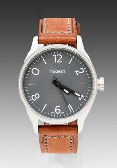 TSOVET watch with brown leather strap