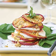 grilled peach + mozzarella salad