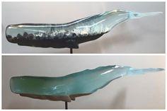 Translucent Whale Sculptures That Show the Ocean Life Within Resin Crafts, Resin Art, Sculpture Art, Sculptures, Sea Whale, Cast Glass, Japanese Artists, Ocean Life, 3d Design