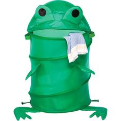 Whitmor Collapsible Laundry Hamper, Frog, Green