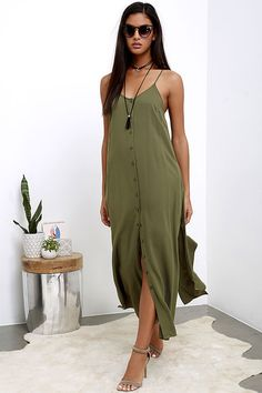 Perfect for even a manic Monday, the Friday I'm in Love Olive Green Maxi Dress will put you in a weekend mood! Woven rayon is soft and lightweight over spaghetti straps, a modified racerback, and relaxed bodice with full button placket. Maxi skirt has hidden side seam pockets and twin side slits. As Seen On Jessica of Hapa Time blog!