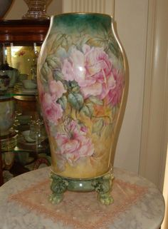 Large Antique Limoges Porcelain Vase Hand Painted With Roses, Marked With The T & V Mark - French   c.1892-1907