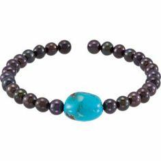 Genuine IceCarats Designer Jewelry Gift N\A 7.5 Inch Cuff Bracelet. Turq/Blk 7.5 Inch Cuff Bracelet In N\A IceCarats. $18.00
