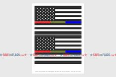 Two Pack Thin Blue Line Flag Sticker Military Firefighter Police Sticker Decal Self Adhesive FA Graphix