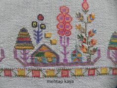 (traditional Turkish embroidery) by Mehtap Kaya. Turkish Fashion, Turkish Style, Cross Stitch Patterns, Needlework, Bohemian Rug, Textiles, Kids Rugs, Traditional, Embroidery