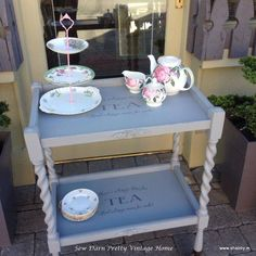 The Local tea shop bought this updated hostess trolley. Painted in a lightened Queenstown Gray by General Finishes . Hostess Trolley, Tea Trolley, Quality Furniture, Diy Painting, Furniture Makeover, Painted Furniture, Entryway Tables, Unique Gifts, Shabby
