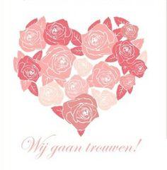 Trouwkaart groot hart gemaakt van roze rozen. Kies de kaart, pas de tekst aan en vraag een gratis proefdruk op (je betaalt zelfs geen verzendkosten!). http://www.trouwpost.nl/trouwkaarten/hartjes/