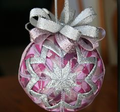 Quilted Christmas Ornament Ball/Pink Purple by YouniqueOrnaments, $25.00
