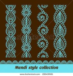 Imagens, fotos stock e vetores similares de Ornamental seamless borders. Vector set with abstract floral elements in indian style. Vector set with abstract floral elements in indian style. Stencil Patterns, Doodle Patterns, Henna Patterns, Embroidery Patterns, Henna Doodle, Henna Art, Rangoli Designs, Mehndi Designs, Inspiration Wand