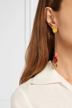 1929be78716 Dinosaur Designs - Gold-tone and resin earrings