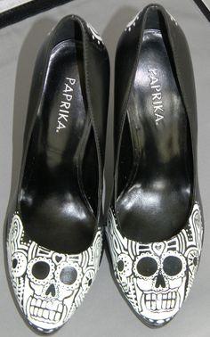 Hand painted sugar skull shoes