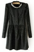 Black Long Sleeve Elastic Waist Rhinestone Lace Dress #Sheinside