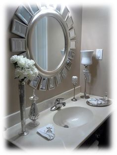 Guest Bath 1 Day Glam Refresh Look, Guest Bathroom freshened in 1 day makeover, Large round mirror and silver accents set the tone for this small guest bath., Bathrooms Design