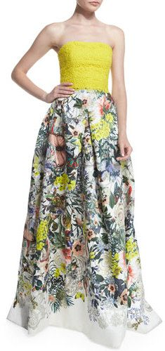 dbfb5eecec Bright yellow gown with a floral-print skirt Floral Print Gowns, Floral  Print Skirt