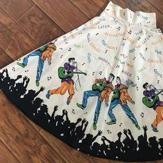 Vintage 1950s 50s RARE Elvis Presley Rock N Roll Novelty Print Circle Skirt S/M