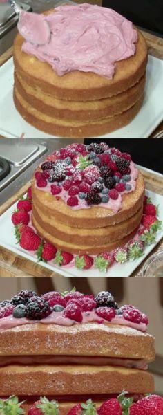 NAKED CAKE DE FRUTAS VERMELHAS ( VERSAO RAPIDA ) #nakedcake  #nakedcakedefrutasvermelhas #doce #doces #sobremesa #sobremesas