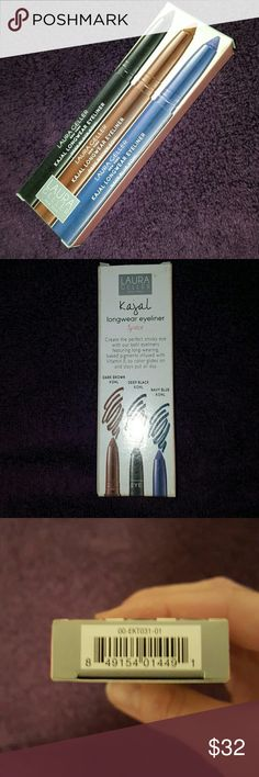 SALE!!! 3 Laura Geller Kajal Longwear Eyeliner 3 pack of gorgeous  kajal pencil shades. Suitable for every eye color. These are fantastically long lasting. you can keep a straight line or smoke it out. Comes full size colors: Dark Brown, Navy Blue, and Deep Black. Used a few time only. As you can see in pictur there is plenty of product left. 100% Authentic!!! Will come in box. Makeup Eyeliner