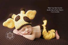 Newborn baby giraffe hat and pants  crochet pattern 3 to 6 months