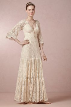 Kite and Butterfly ivory Rena Dress | BHLDN