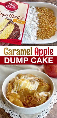 The Best Caramel Apple Cobbler Dump Cake (Just 4 Ingredients!) Crock Pot Desserts, Fall Dessert Recipes, Desserts Menu, Easy Desserts, Delicious Desserts, Drink Recipes, Caramel Apple Dump Cake, Apple Dump Cakes, Dump Cake Recipes