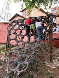 Tire climbing wall. Fun, great for building confidence and muscles, and a super way to upcycle the tires!
