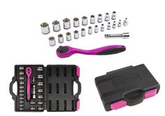 This pink socket and ratchet set is just one of the many durable, high quality tool options brought to you by The Original Pink Box. The 72 tooth composite ratchet features a pink comfort han Pink Love, Pretty In Pink, Hot Pink, Pink Tool Box, Tools For Women, Outdoor Girls, Brenda, Just For Men, Socket Set