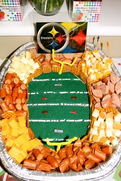 Football meat and cheese stadium =) made by for my brother's birthday sleepover (seahawks style) Football Birthday, Sports Birthday, 2nd Birthday, Birthday Parties, Steelers Football, Football Food, Pitt Steelers, Football Parties, Denver Broncos