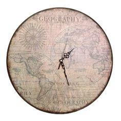 Geography decoupaged clock
